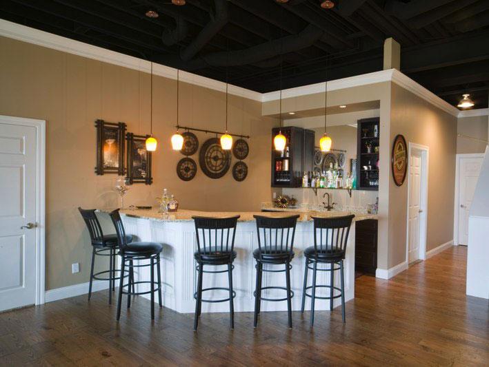 Engineered Hardwood Basement Part - 28: ... Yerke Floors Engineered Hand-scraped Oak Floor Basement Bar Installation