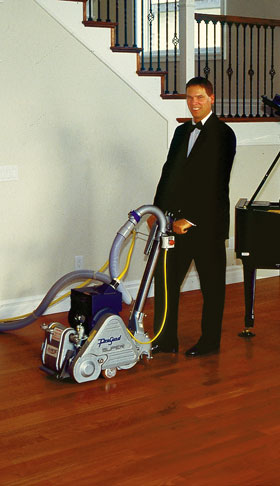 yerke floors president bill yerke in tuxedo with dcs dustless sander